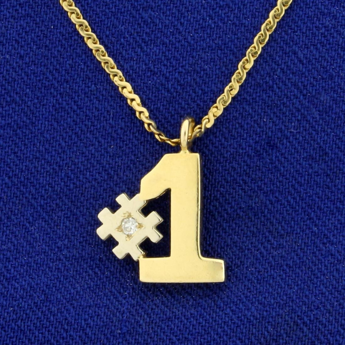 Italian Made Diamond #1 Pendant and S-Link Chain in 14K