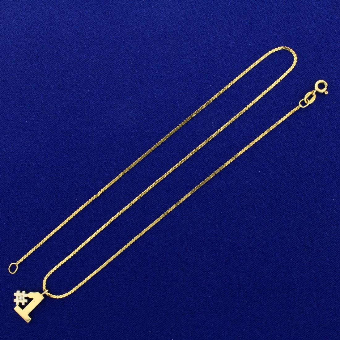Italian Made Diamond #1 Pendant and S-Link Chain in 14K - 3