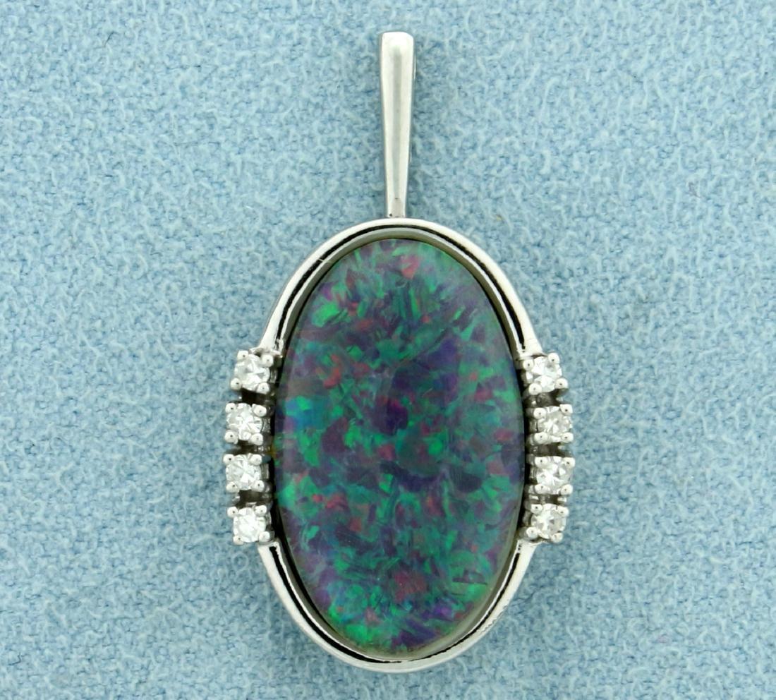 Black Opal Doublet and Diamond Pendant in 14K White