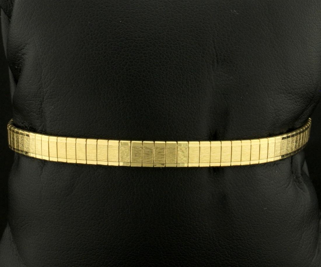 Italian Made 7 1/2 Inch Gold Flat Rectangle Link