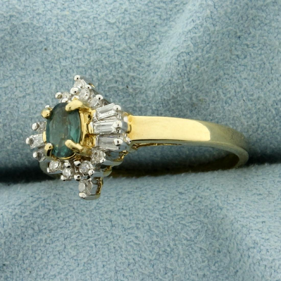 Lab Alexandrite Ring with Round and Baguette Diamonds - 2