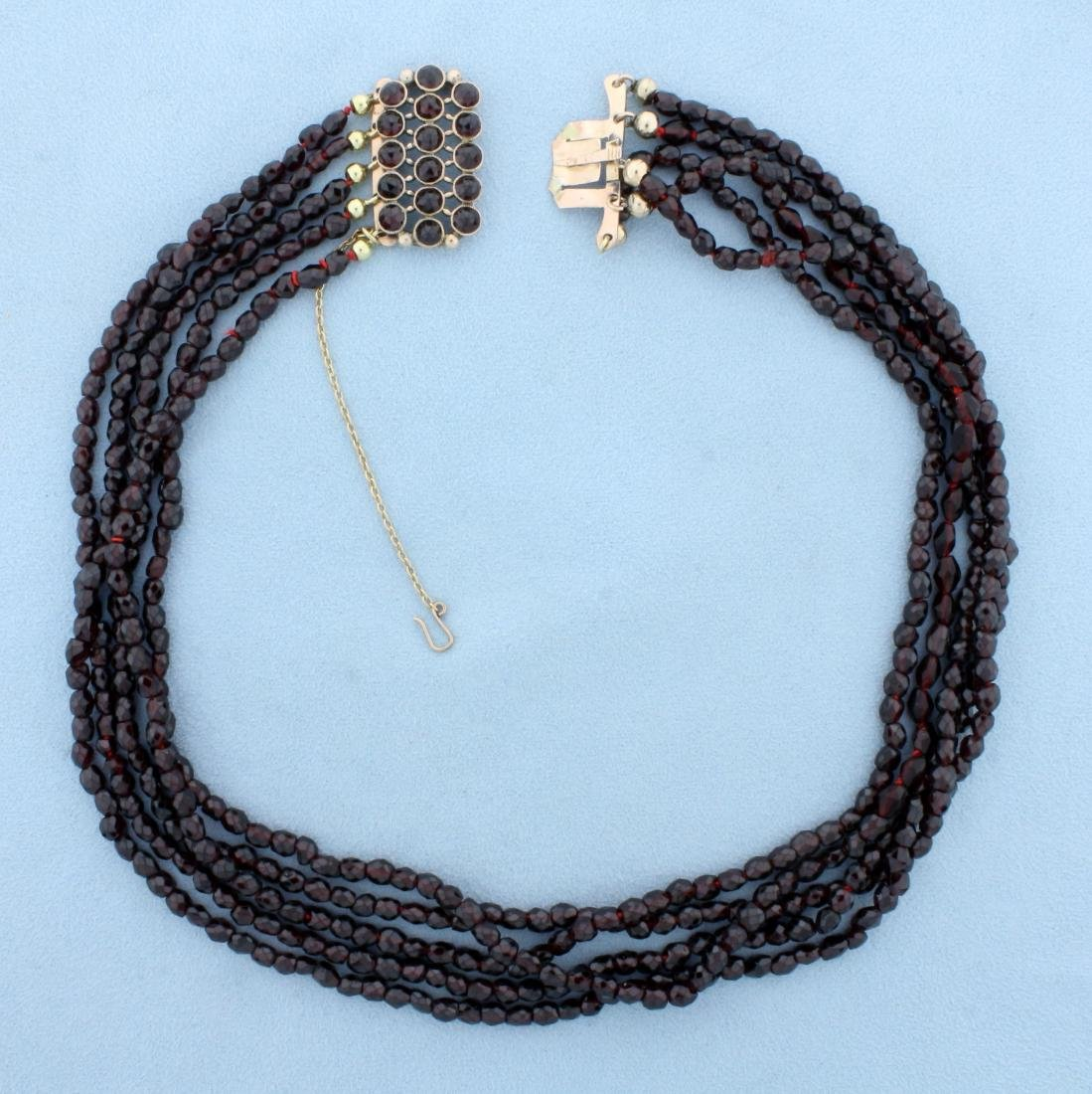 Antique Victorian Five-Strand Crystal Bead Necklace