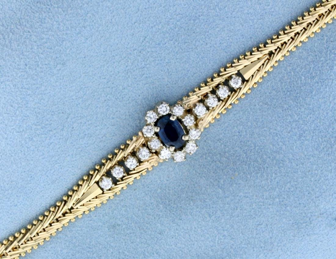Italian Made Sapphire and Diamond Designer Bracelet in
