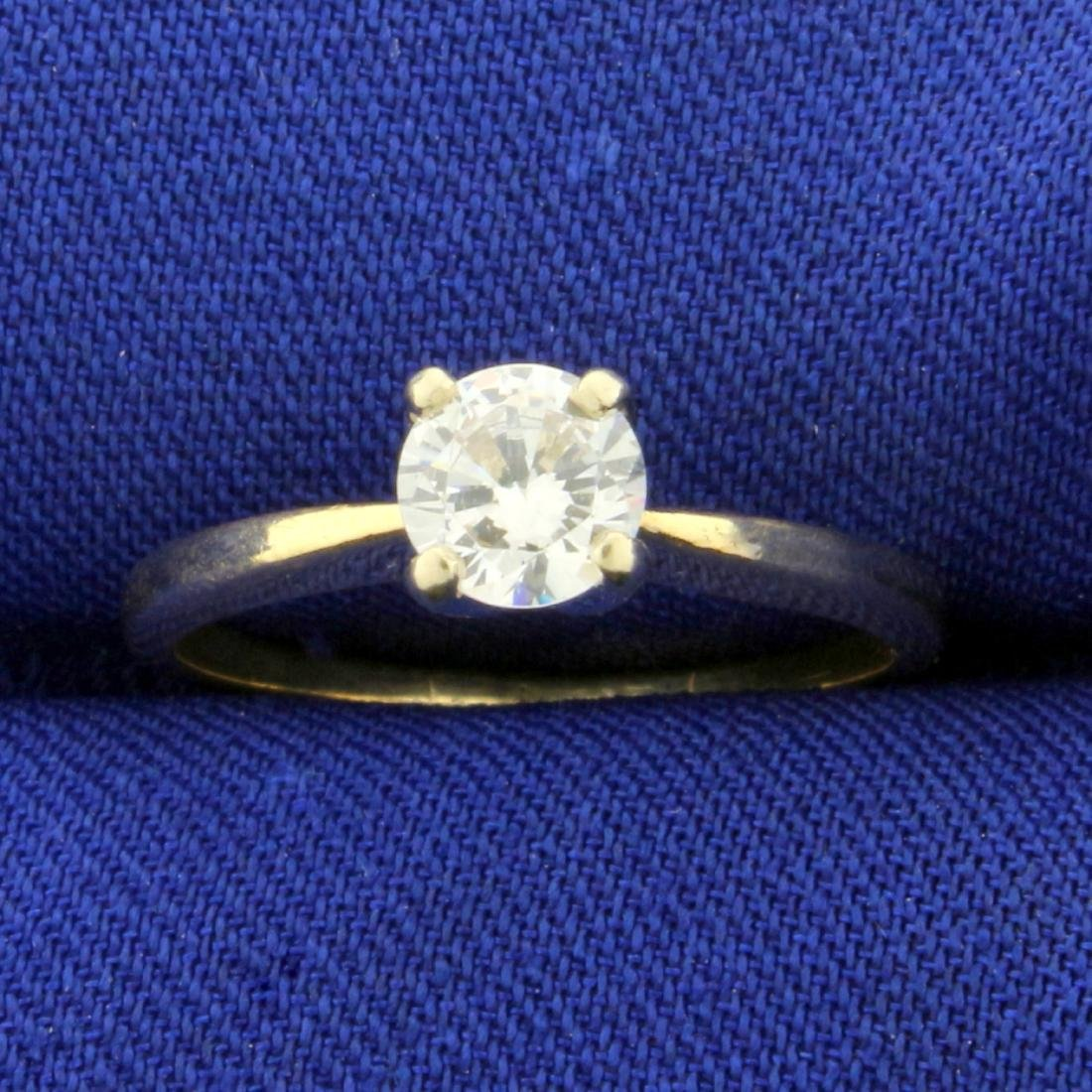 1/2ct Solitaire CZ Engagement Ring in 14K Yellow Gold