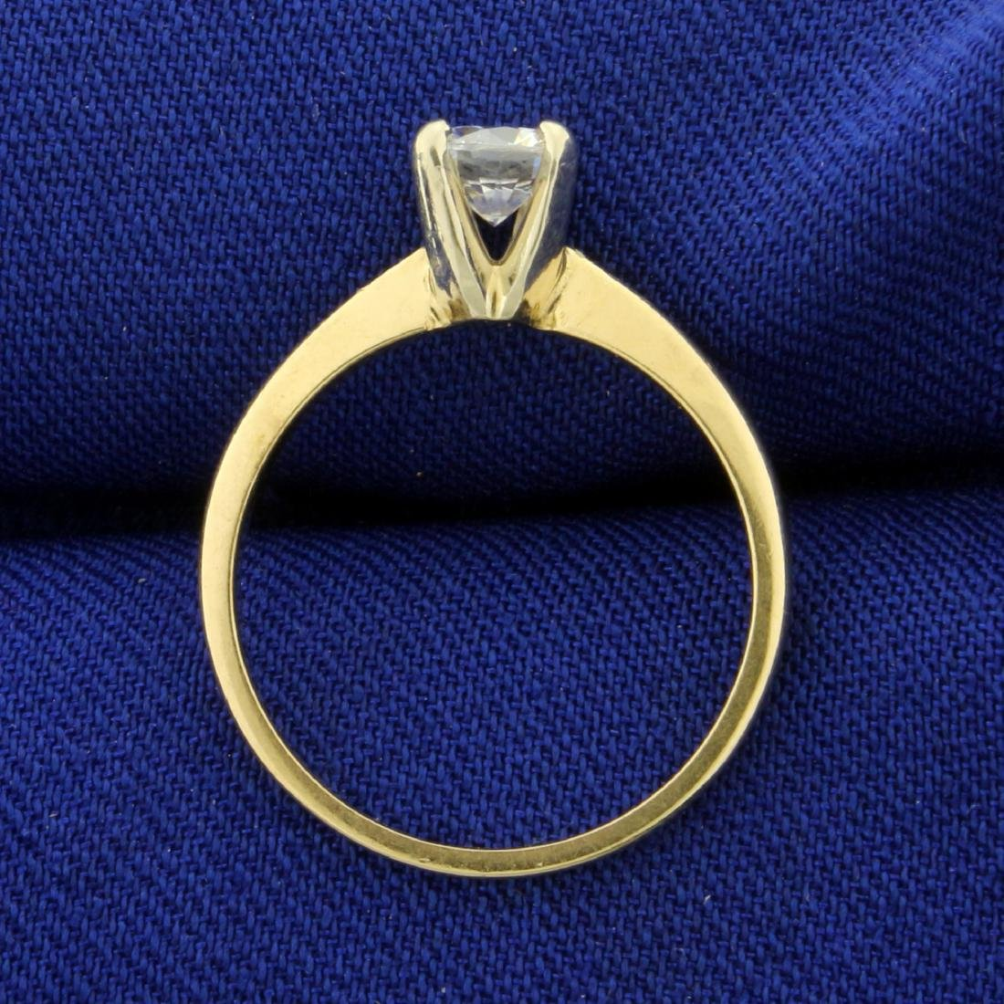 1/2ct Solitaire CZ Engagement Ring in 14K Yellow Gold - 3