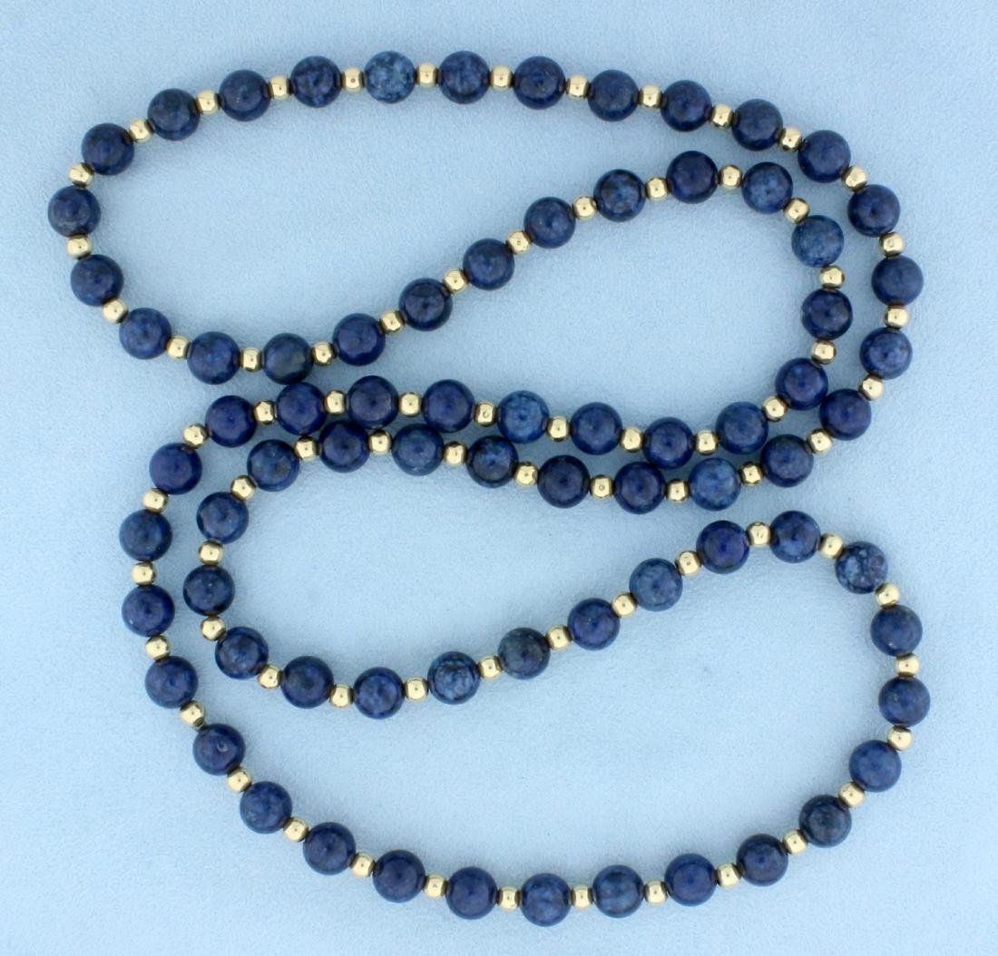 Blue Dumortierite Quartz and 14K Gold Bead Necklace