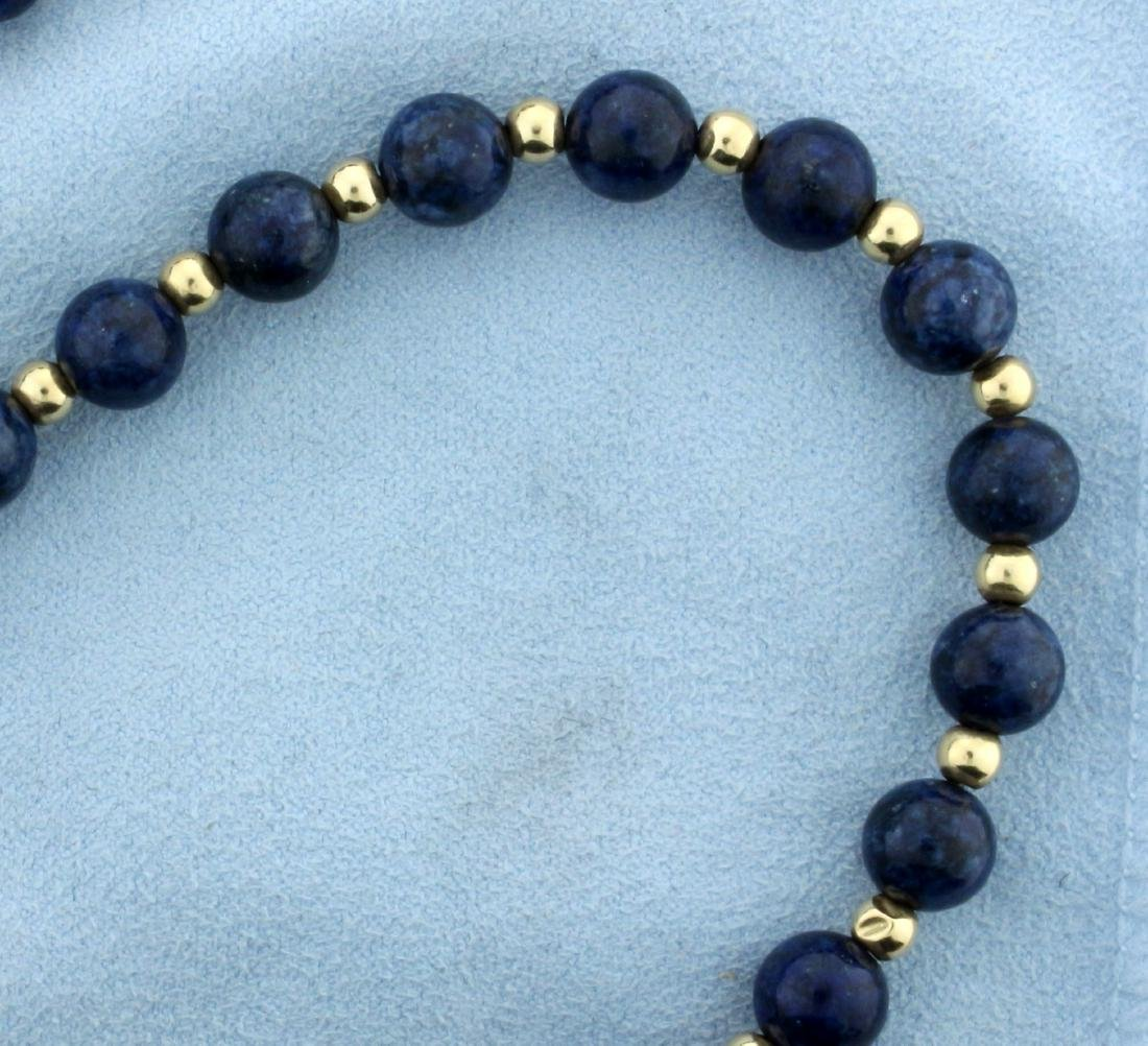 Blue Dumortierite Quartz and 14K Gold Bead Necklace - 2