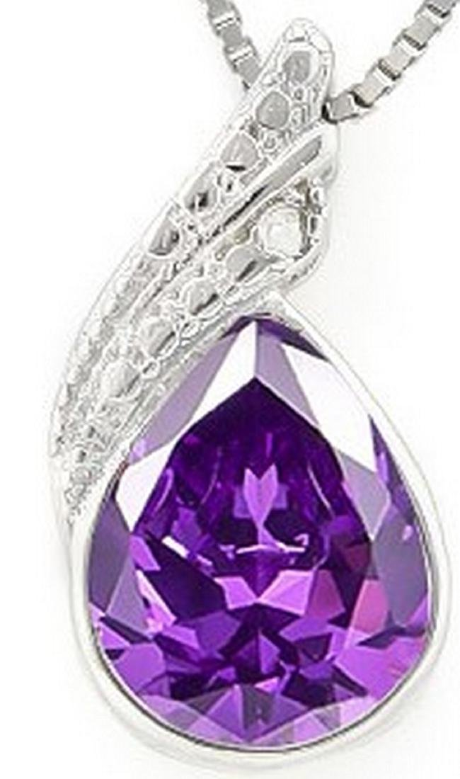 Pear Cut Amethyst and Diamond Necklace in Sterling
