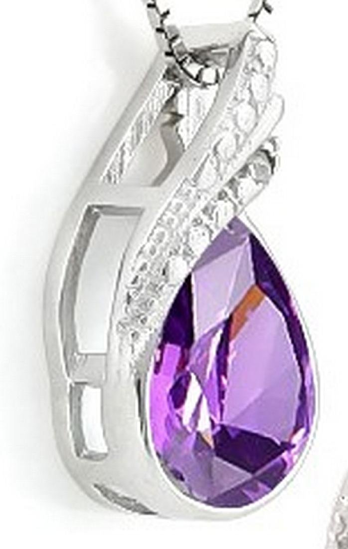 Pear Cut Amethyst and Diamond Necklace in Sterling - 2