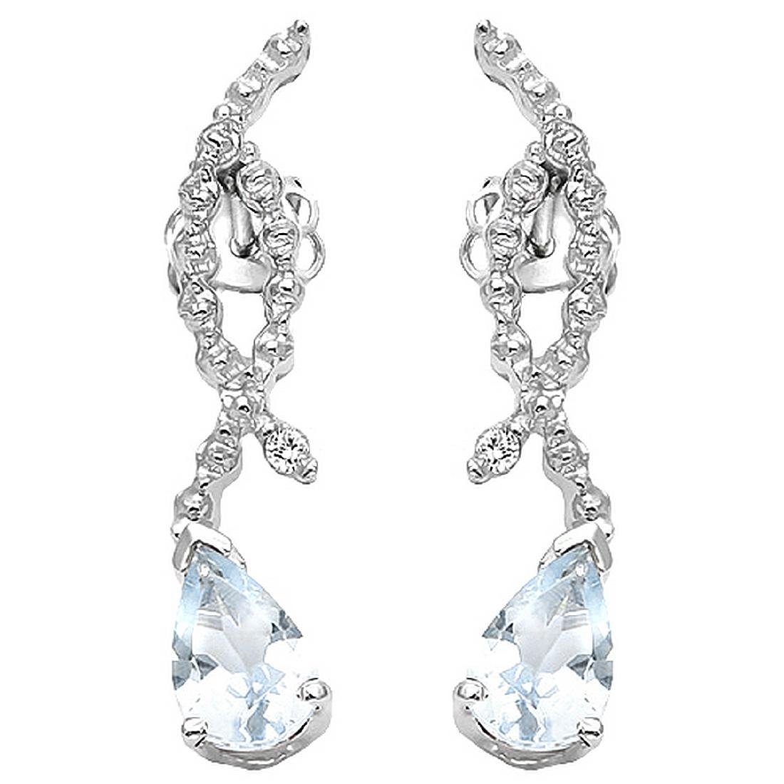Aquamarine and Diamond Dangle Earrings in Sterling