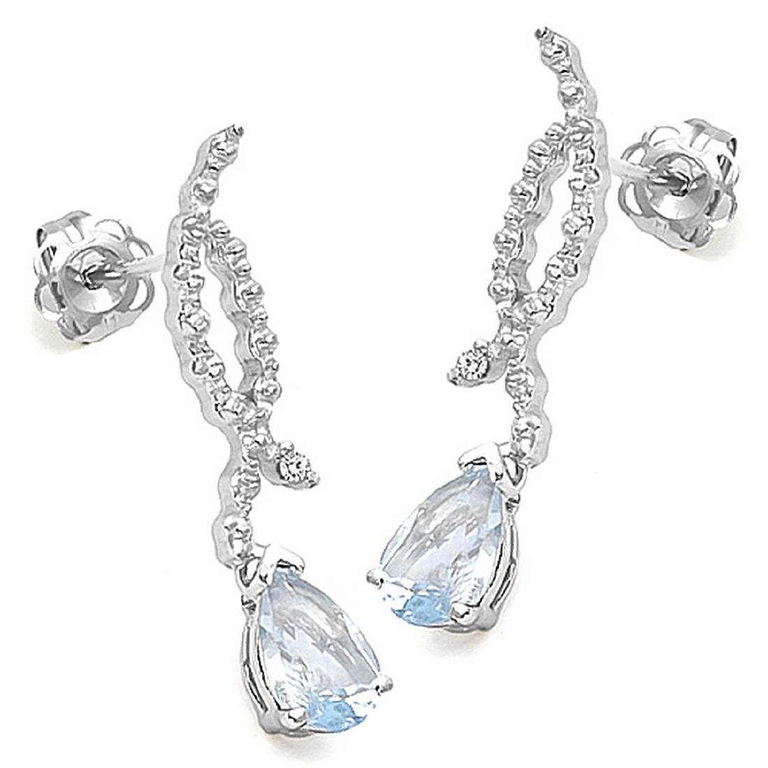 Aquamarine and Diamond Dangle Earrings in Sterling - 2