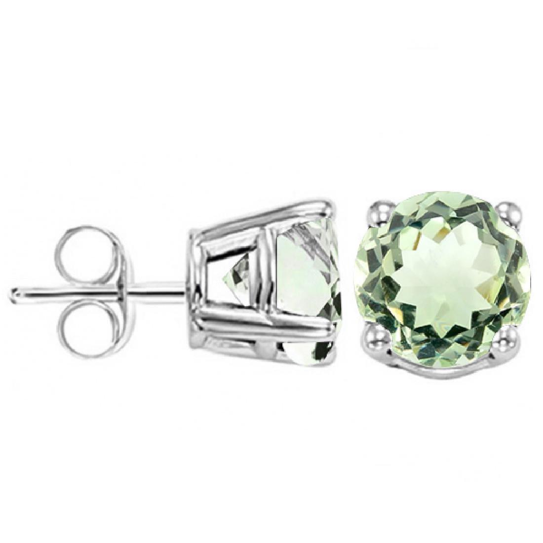 6MM Green Amethyst Stud Earrings in Sterling Silver - 2