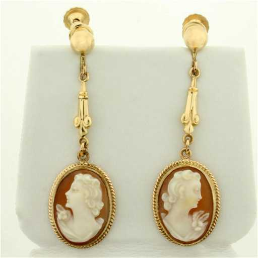 6fbdcfbad Dangle Cameo Earrings in 10K Yellow Gold with Screw