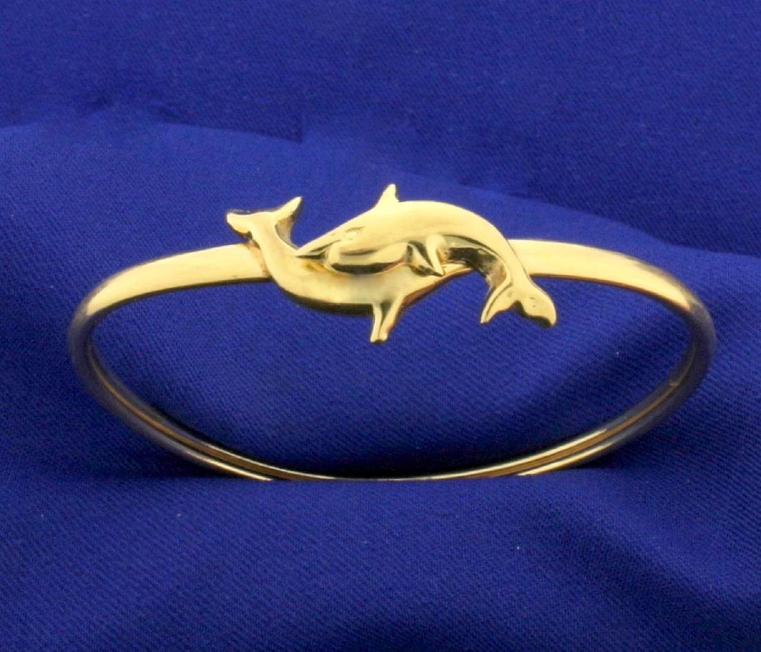Dolphin Bangle Bracelet in 14k Yellow Gold