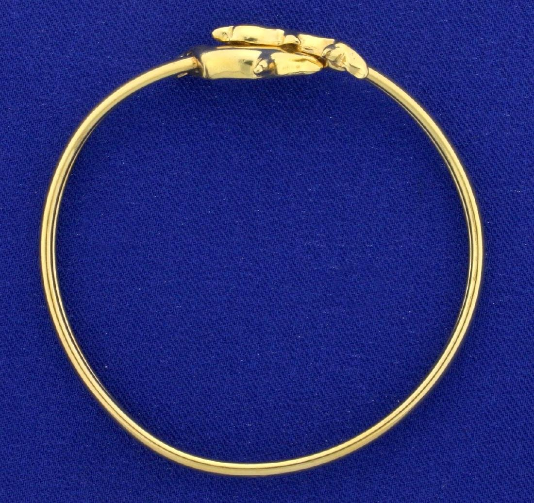 Dolphin Bangle Bracelet in 14k Yellow Gold - 2
