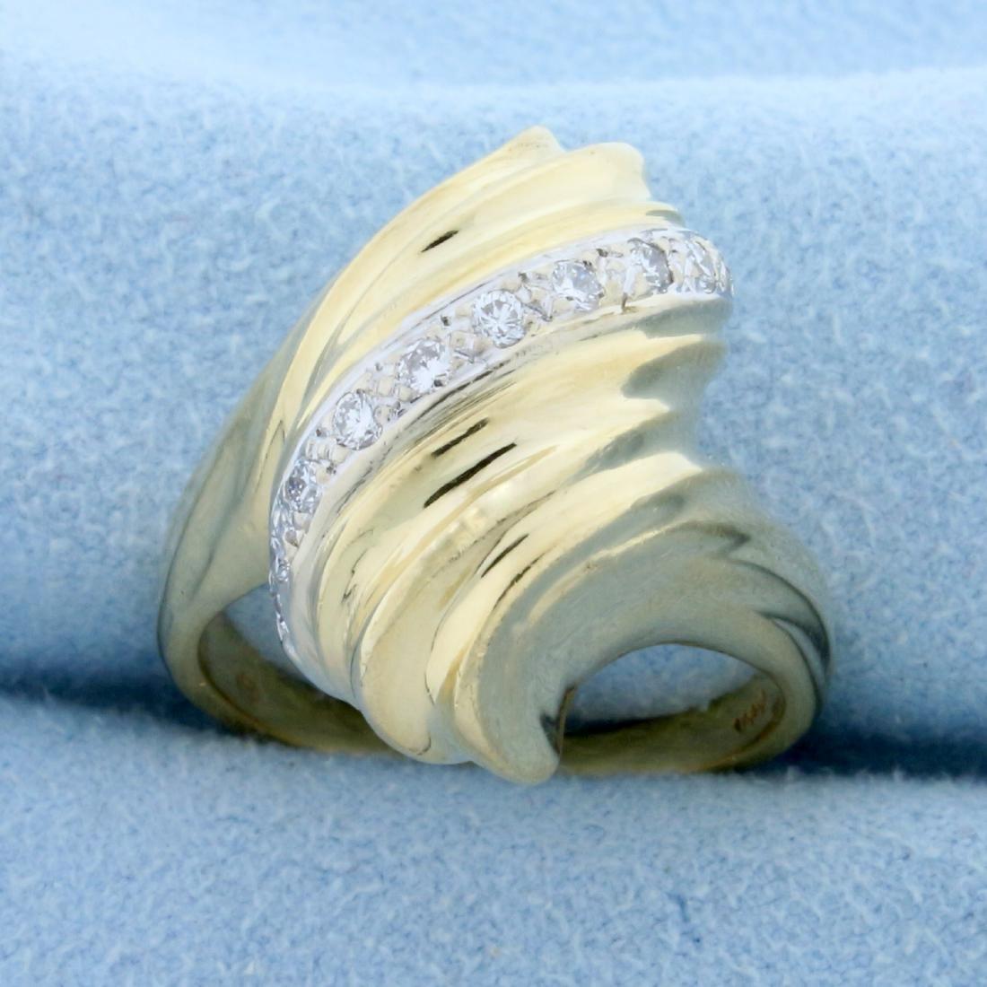 Designer Swirling Scroll Design Ring in 14K Yellow Gold