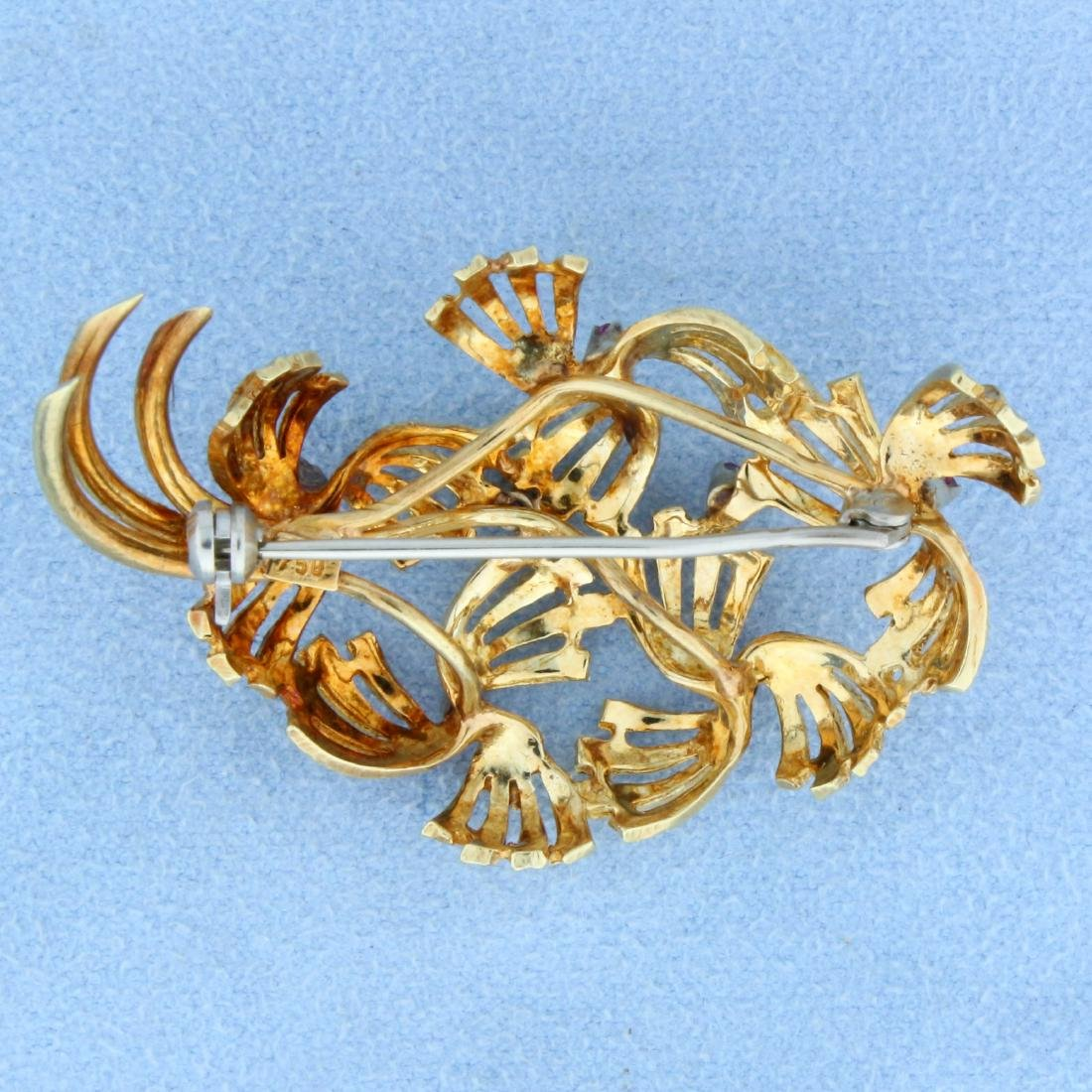 Antique 18k Gold Ruby Pin - 2