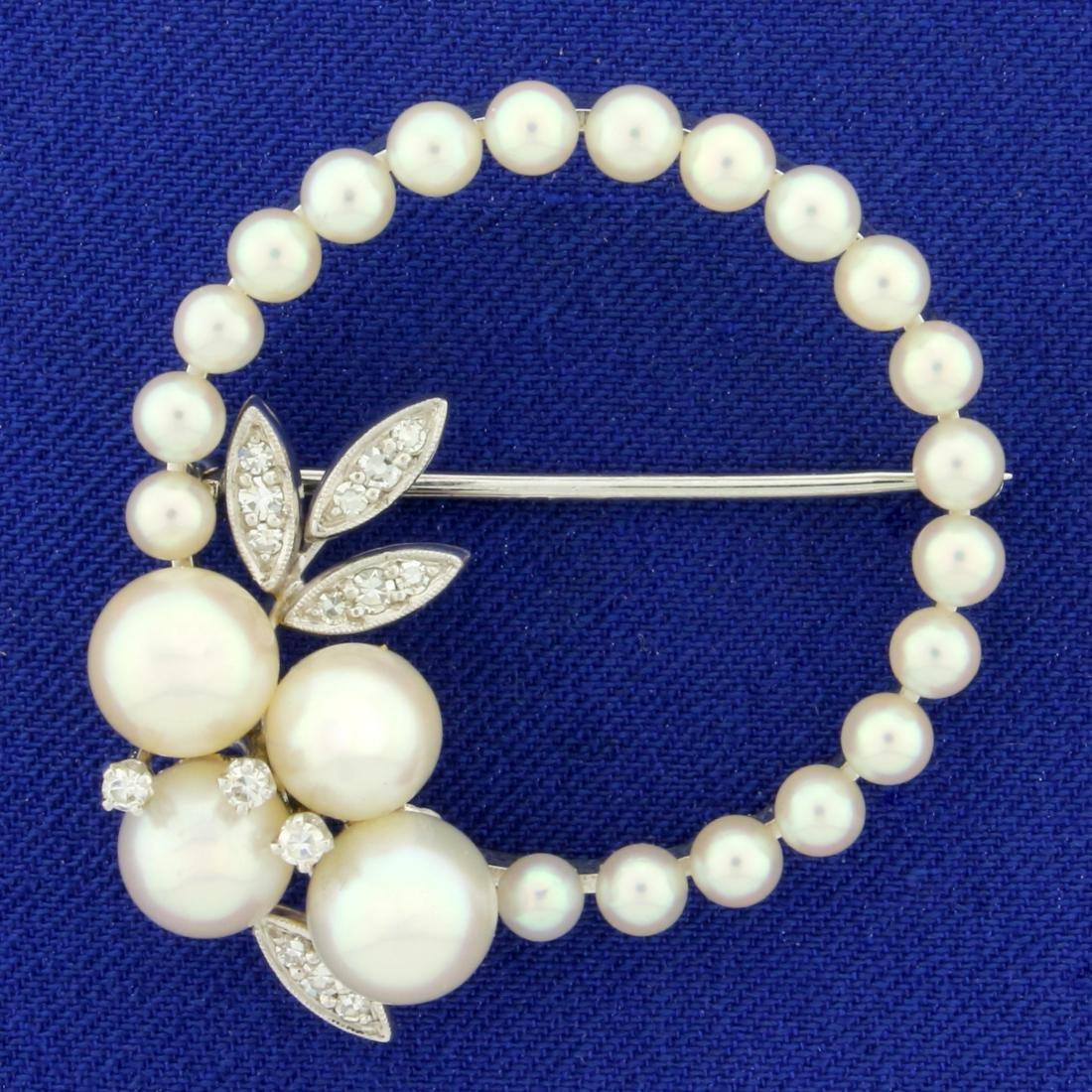 Akoya Pearl and Diamond Pin in 14K White Gold