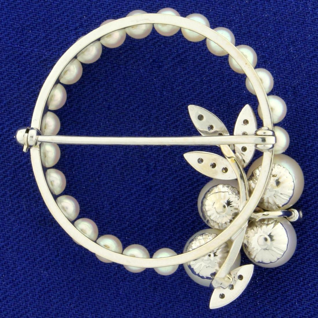 Akoya Pearl and Diamond Pin in 14K White Gold - 2