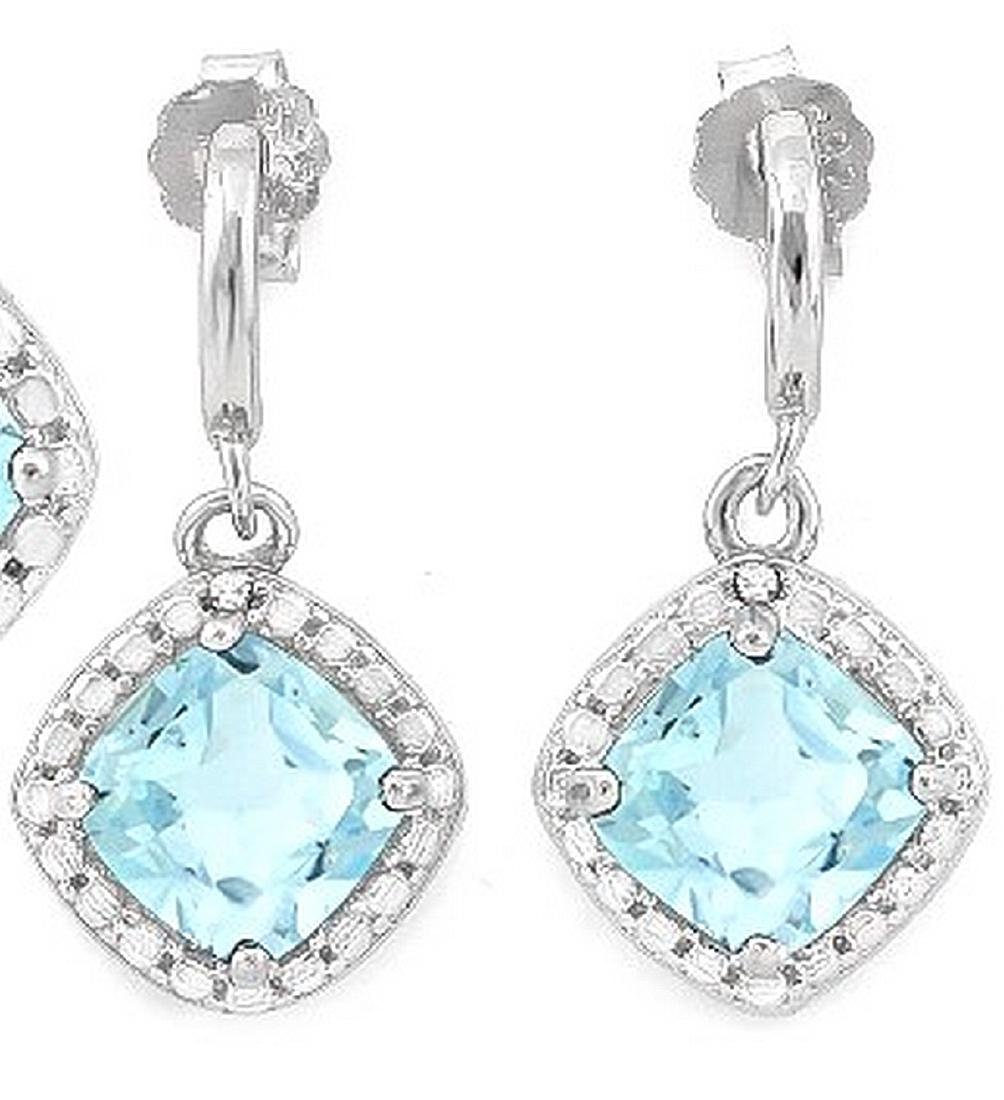 Sky Blue Topaz and Diamond Dangle Earrings in Sterling