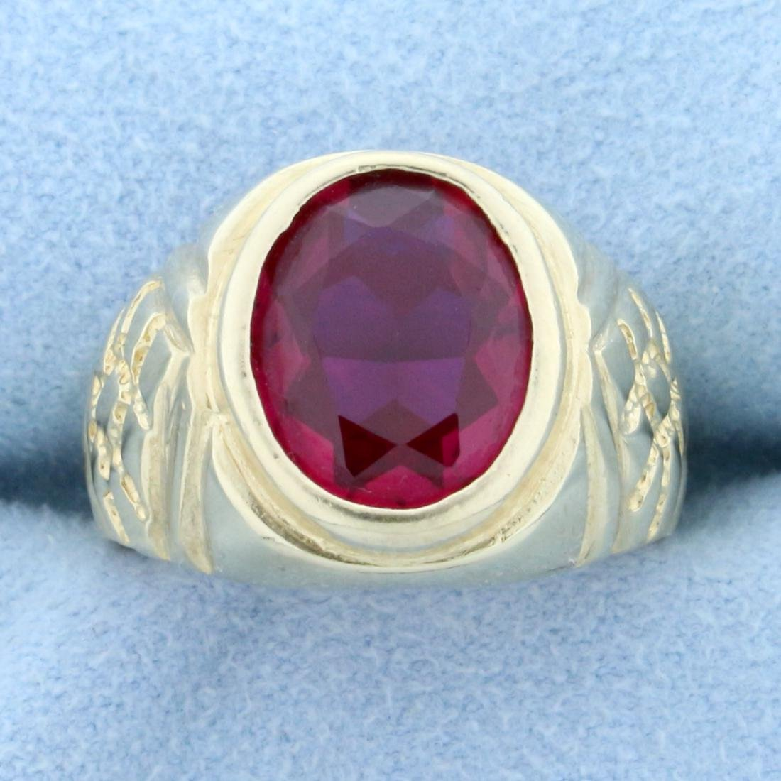 5ct Ruby Solitaire Ring in 14K Yellow Gold