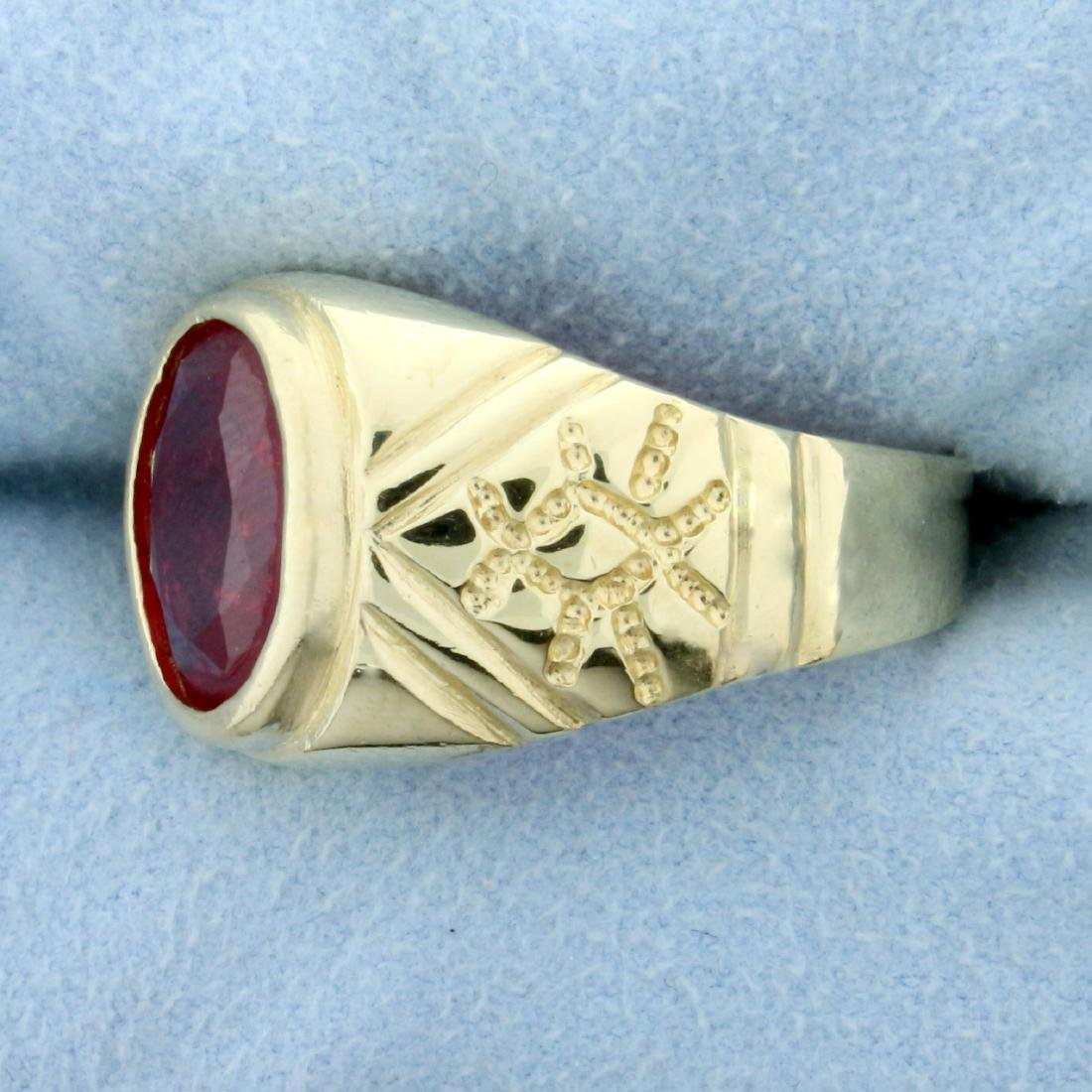 5ct Ruby Solitaire Ring in 14K Yellow Gold - 2