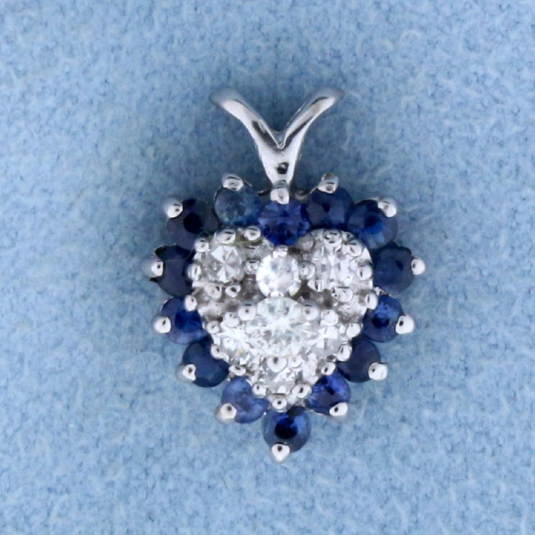 Sapphire and Diamond Heart Pendant in 14K White Gold