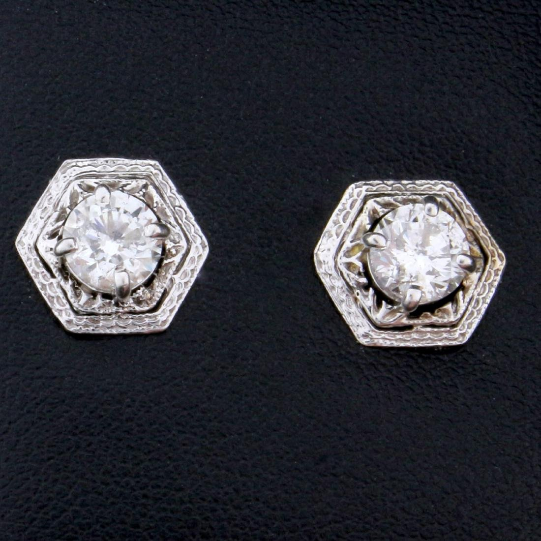 Unique 1.6ct TW Diamond Earrings in 14k White Gold
