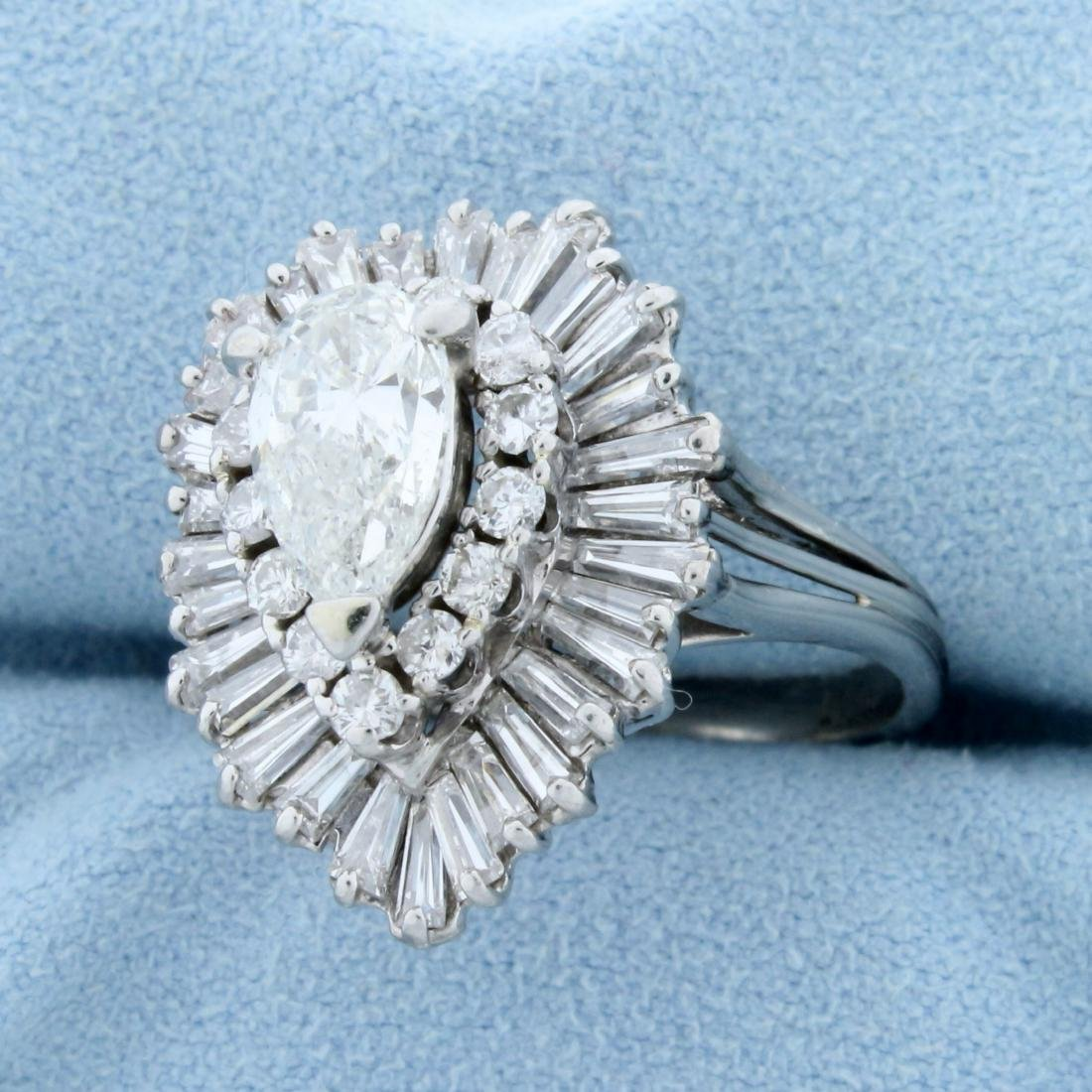 Vintage 3 1/2ct TW Pear Diamond Engagement Ring in - 2