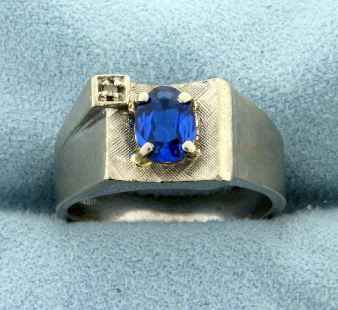 1ct Blue Spinel and Diamond Ring in 10K White Gold