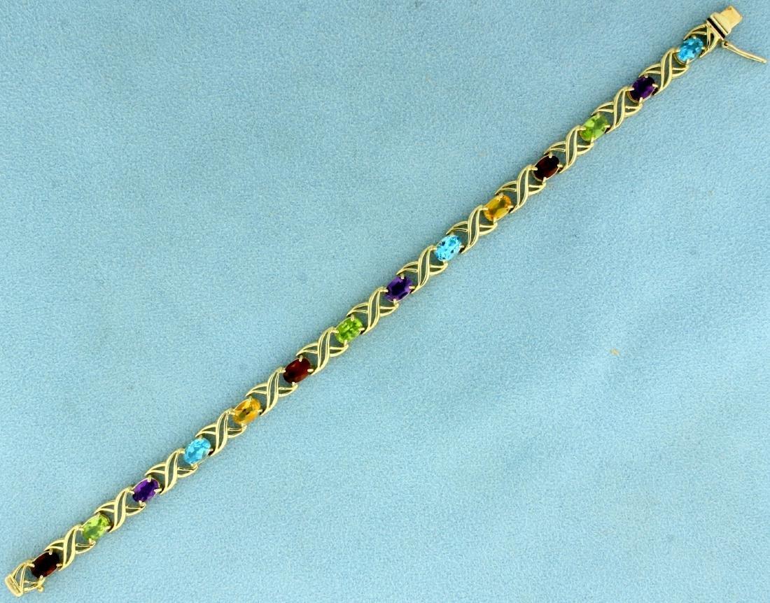 7 Inch Rainbow Semi-Precious Gemstone Bracelet in 14K
