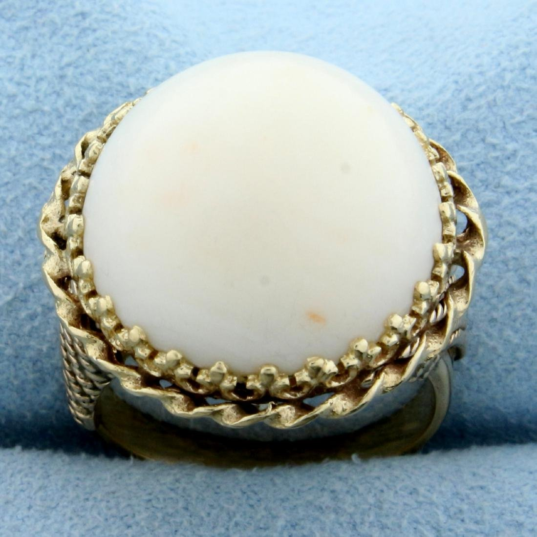 Antique Angel Skin Coral Ring in 14K Yellow Gold