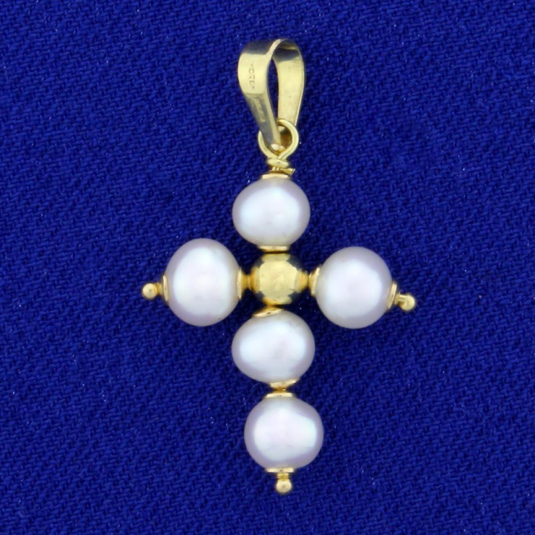 Akoya Pearl Cross Pendant in 18K Yellow Gold