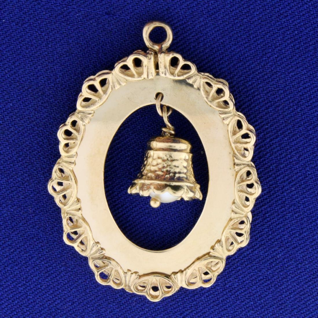 Pearl Wedding Bell Pendant or Charm in 14K Yellow Gold - 2