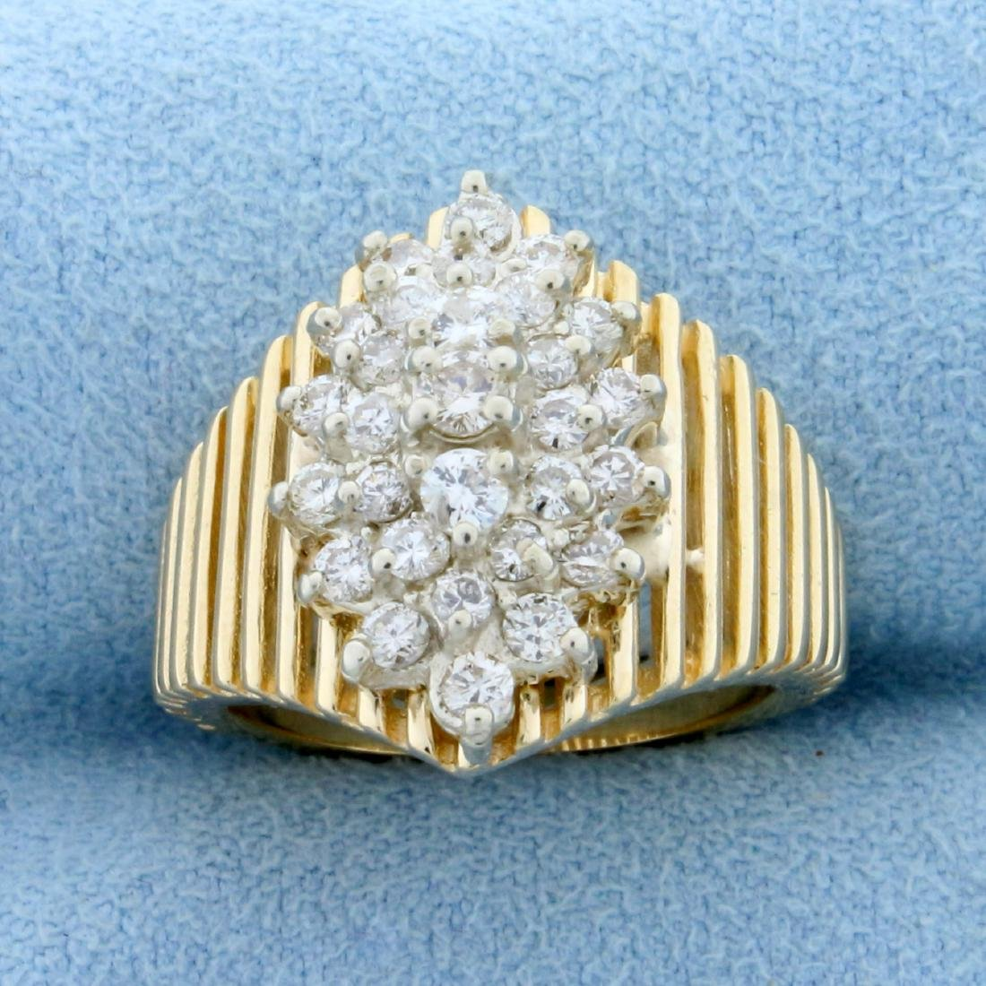 1ct TW Diamond Cluster Ring in14 K Yellow Gold