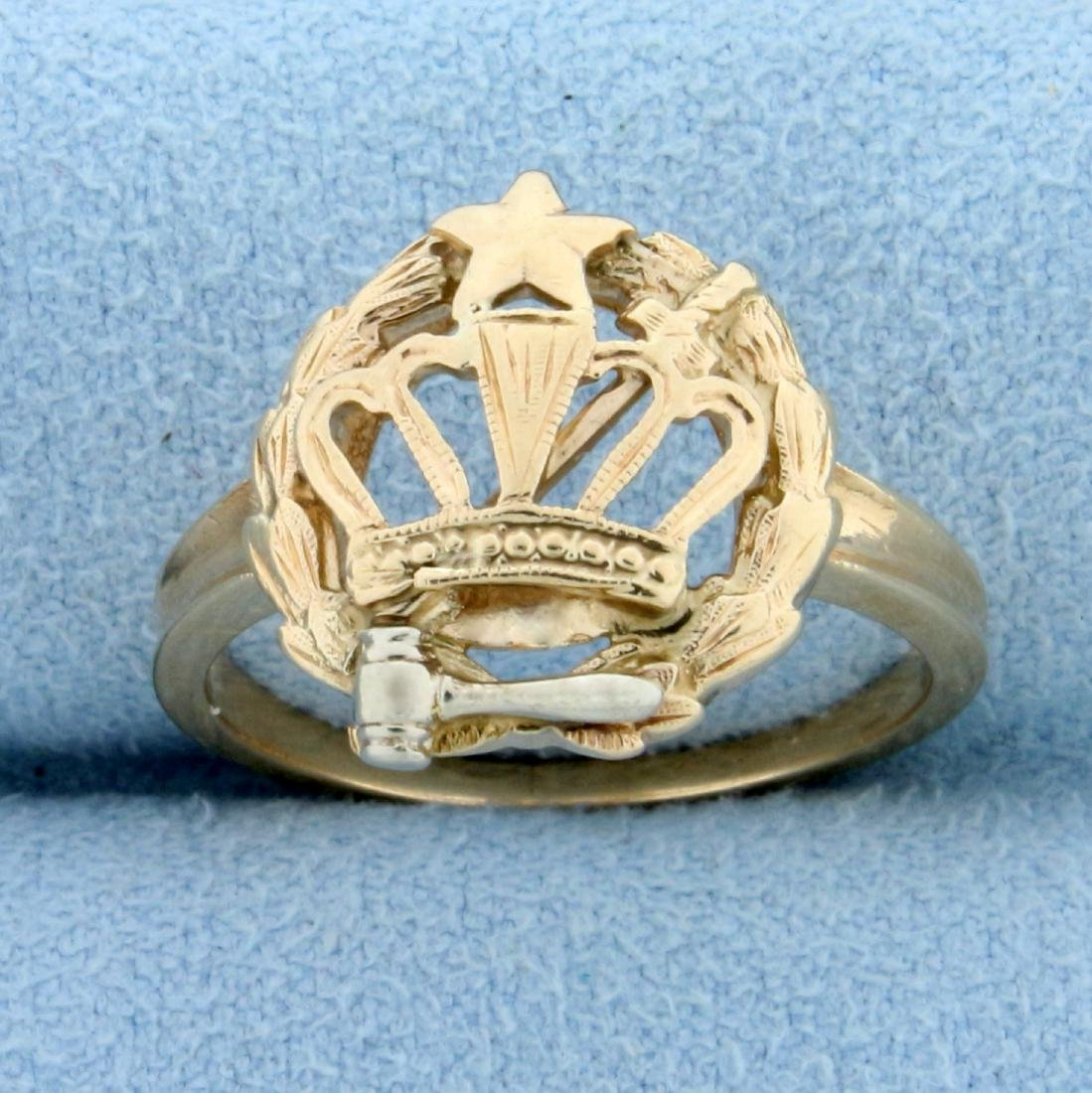 Order of The Eastern Star Ring in  14K Yellow and White