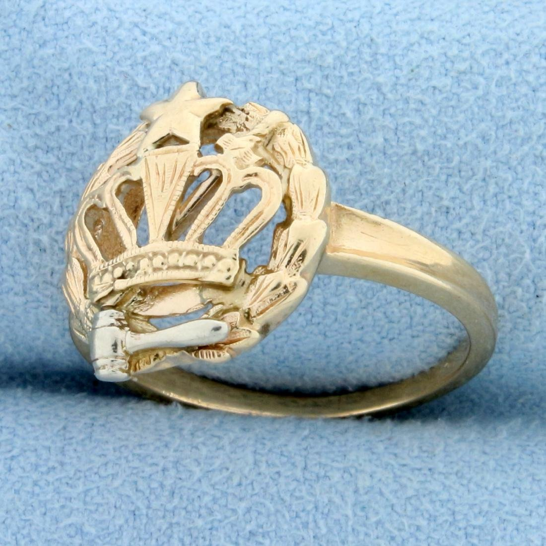 Order of The Eastern Star Ring in  14K Yellow and White - 2