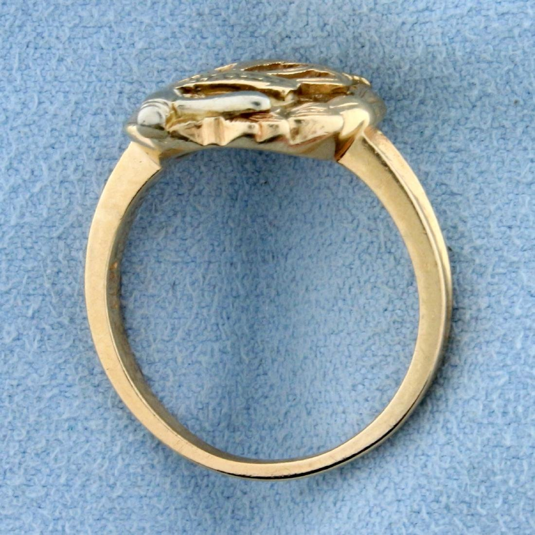 Order of The Eastern Star Ring in  14K Yellow and White - 3