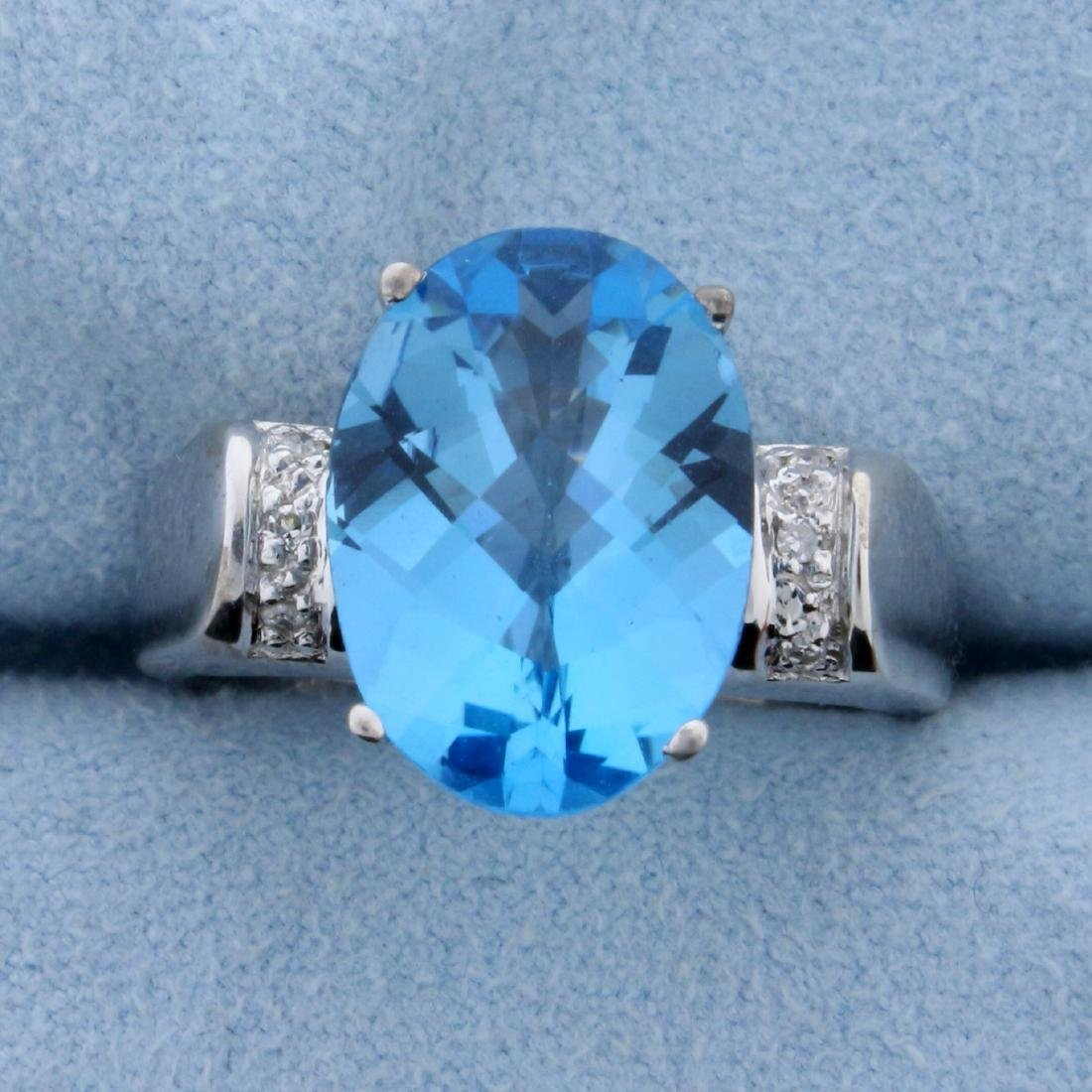 6ct Swiss Blue Topaz and Diamond Ring in 18K White Gold