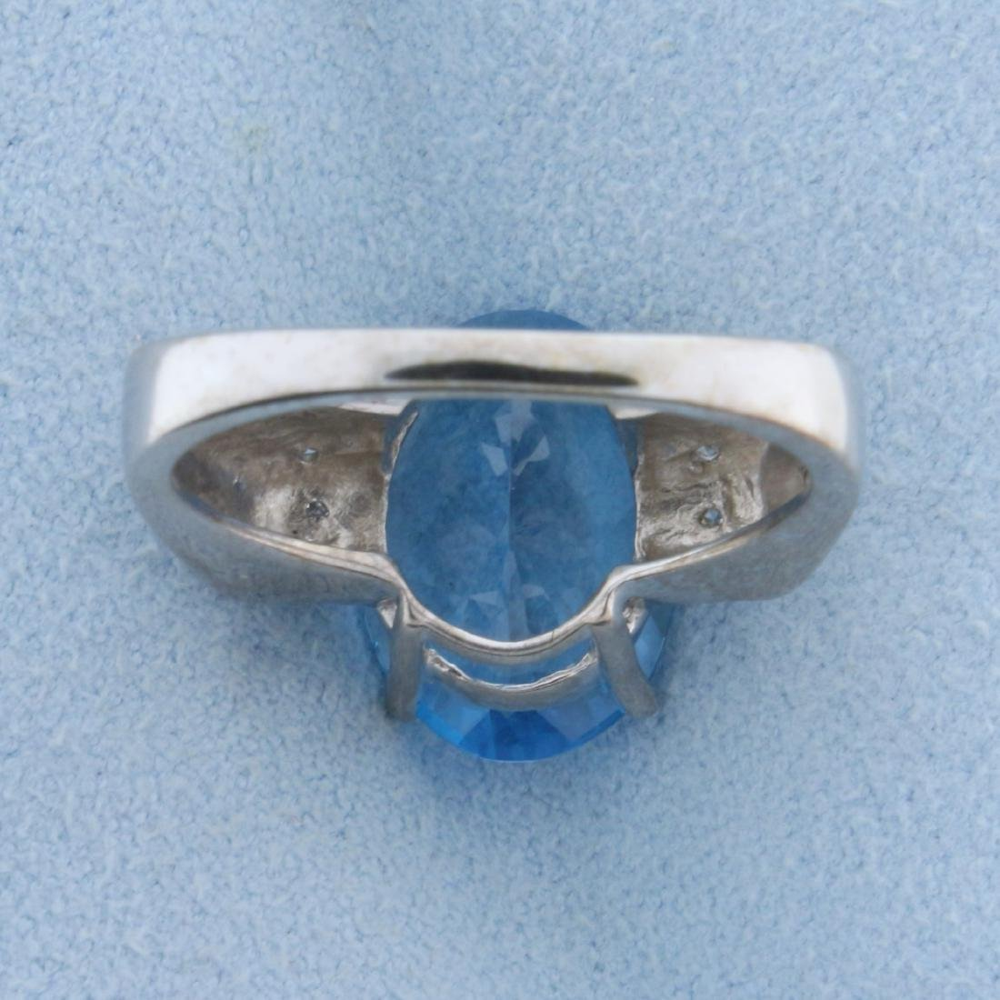 6ct Swiss Blue Topaz and Diamond Ring in 18K White Gold - 3