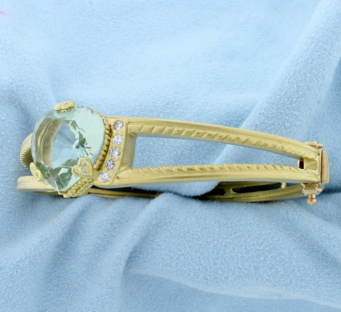 Designer Green Spinel Heart and Diamond Bangle Bracelet - 2