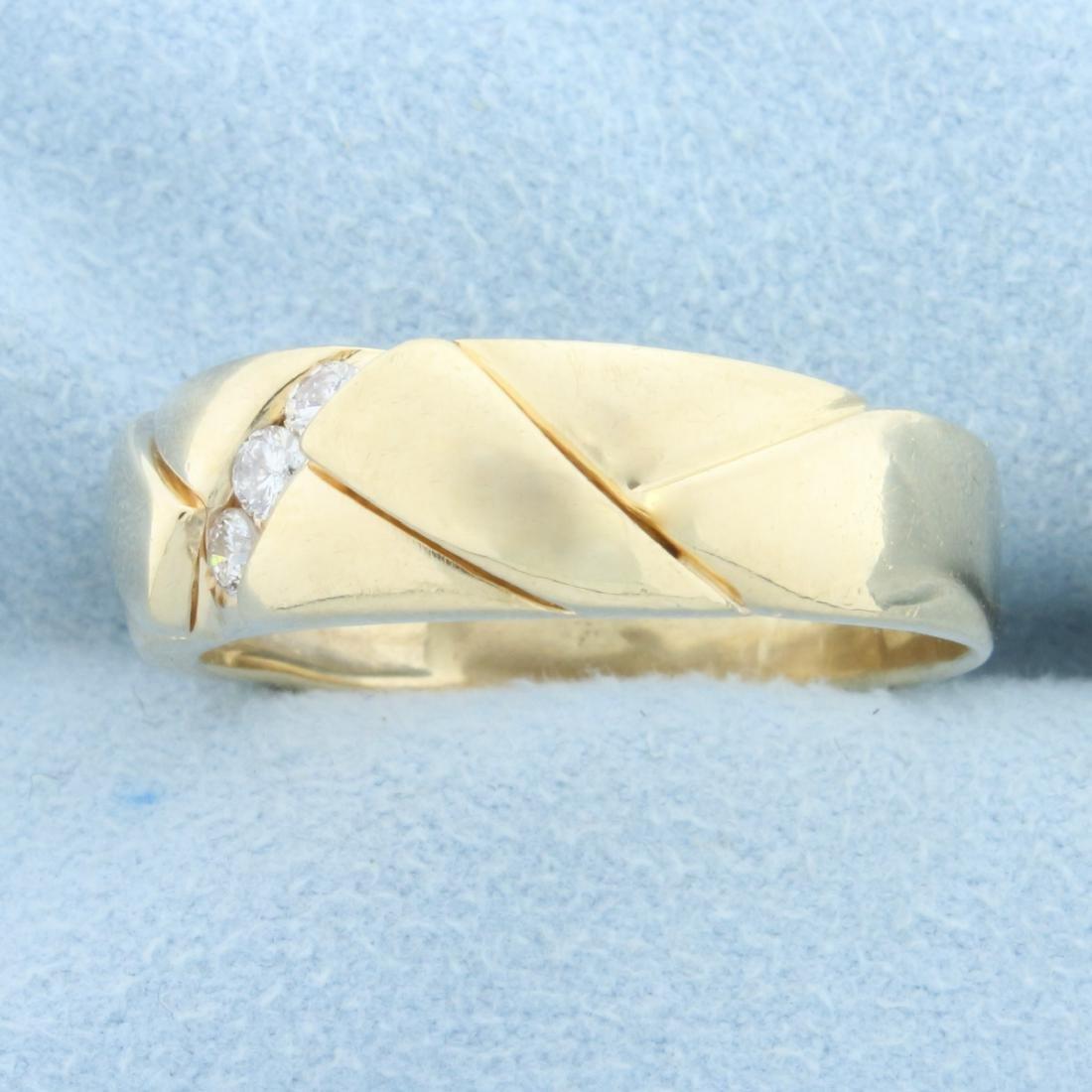 Men's Diamond Wedding or Anniversary Band Ring in 14K - 2