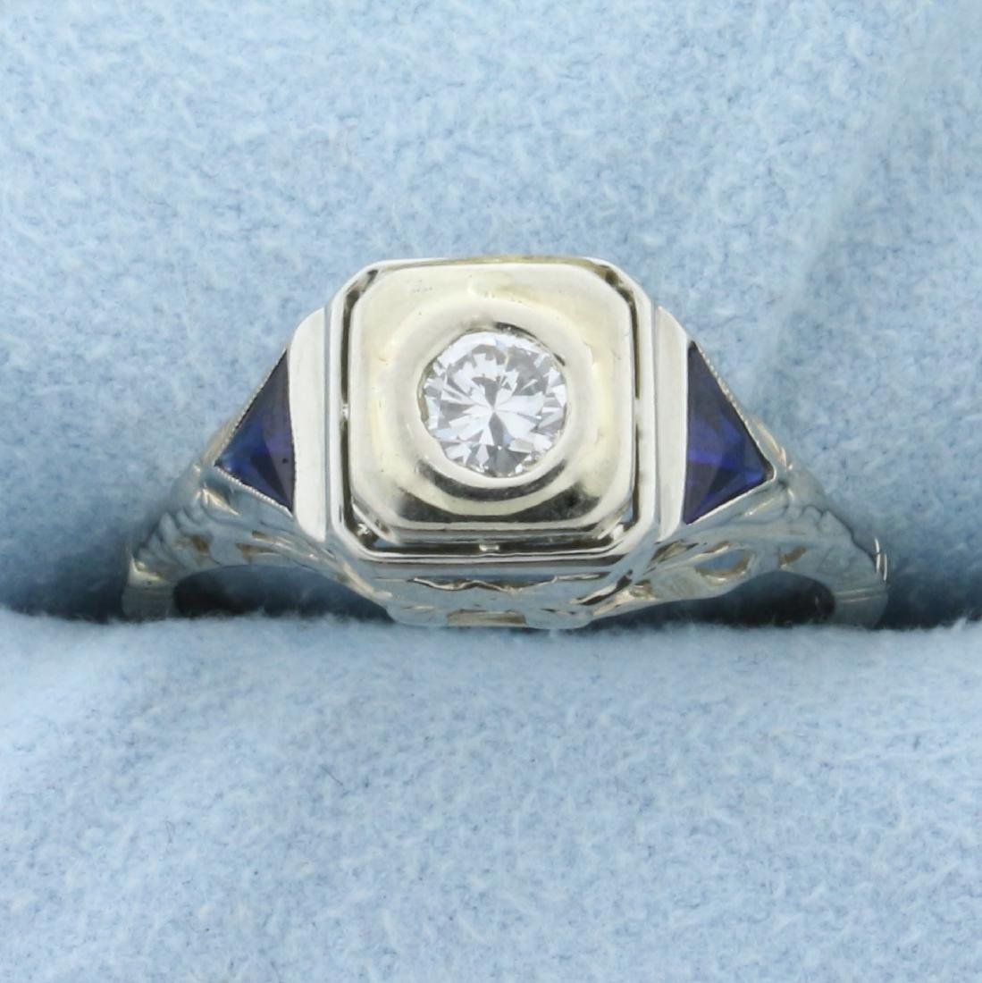 Vintage  Diamond and Sapphire Ring in 14K White Gold