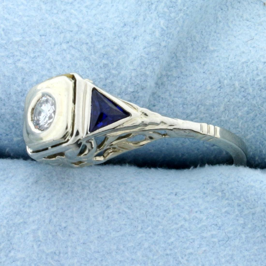 Vintage  Diamond and Sapphire Ring in 14K White Gold - 2