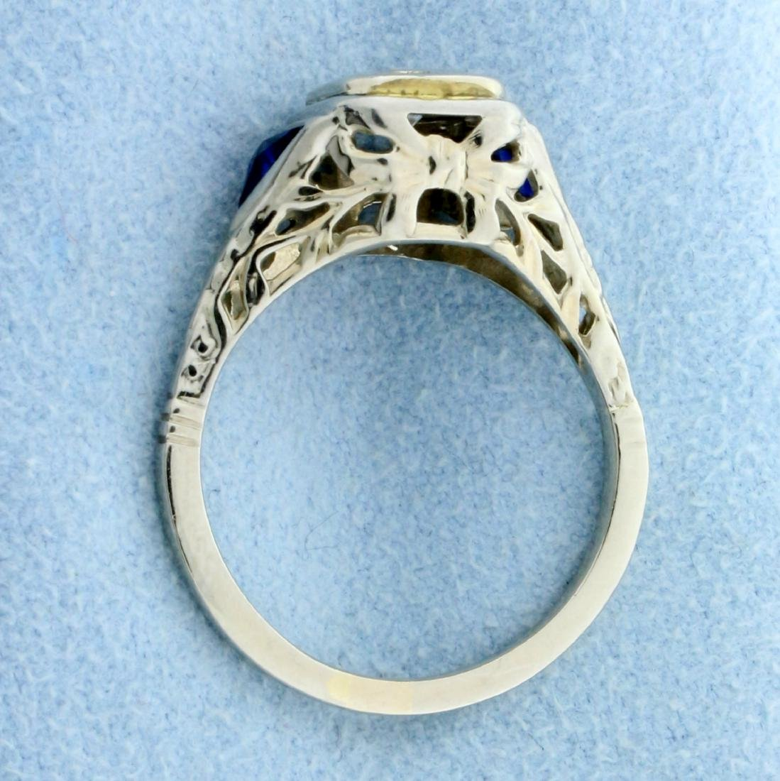 Vintage  Diamond and Sapphire Ring in 14K White Gold - 3