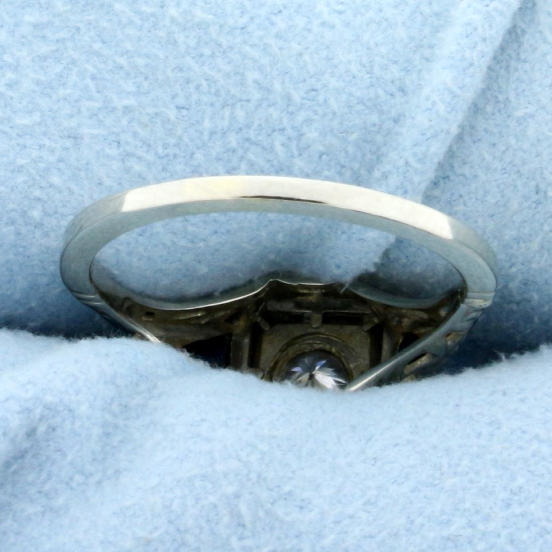 Vintage  Diamond and Sapphire Ring in 14K White Gold - 4