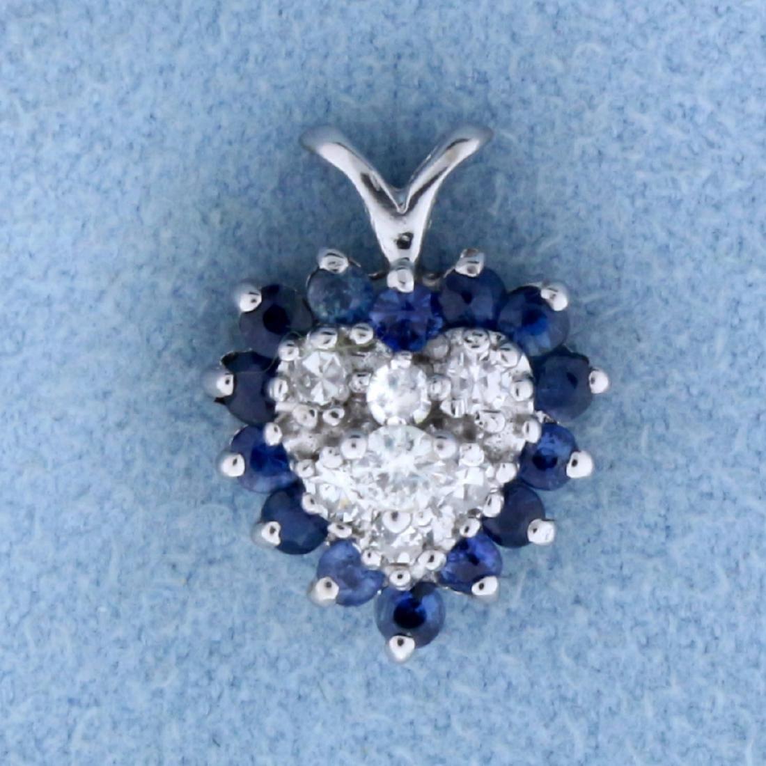 Sapphire and Diamond Heart Pendant in 14K White Gold