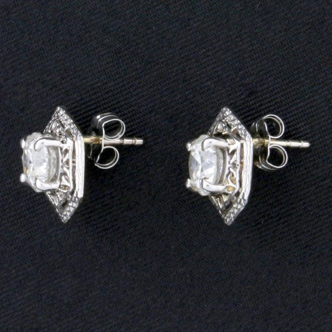 Unique 1.6ct TW Diamond Earrings in 14k White Gold - 2