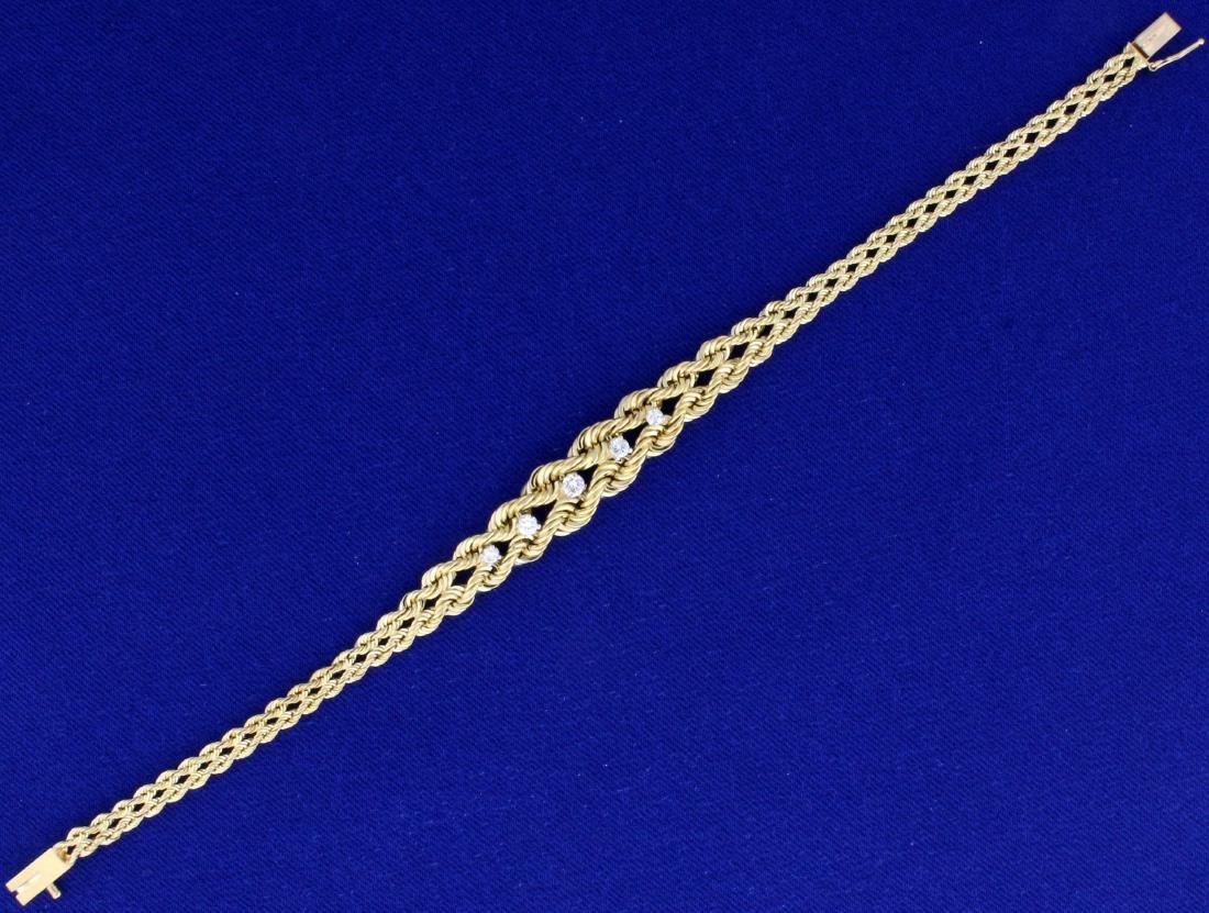 7 Inch Graduated Rope Style Diamond Bracelet in 14K