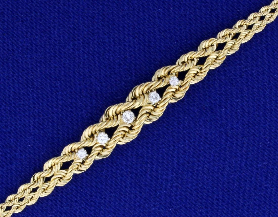 7 Inch Graduated Rope Style Diamond Bracelet in 14K - 2